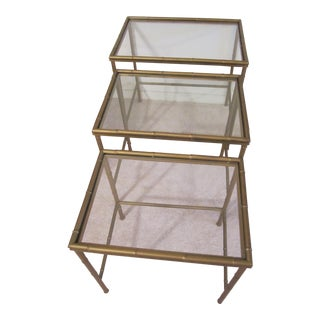 Hollywood Regency Clear Glass & Faux Bamboo Metal Side Table- Set of 3