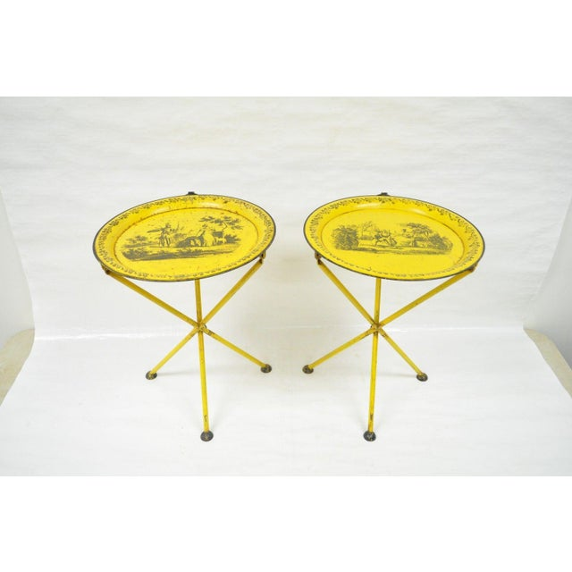 Pair of Vintage Italian Neoclassical Tole Metal Folding Side Tables Yellow Courting - Image 11 of 11