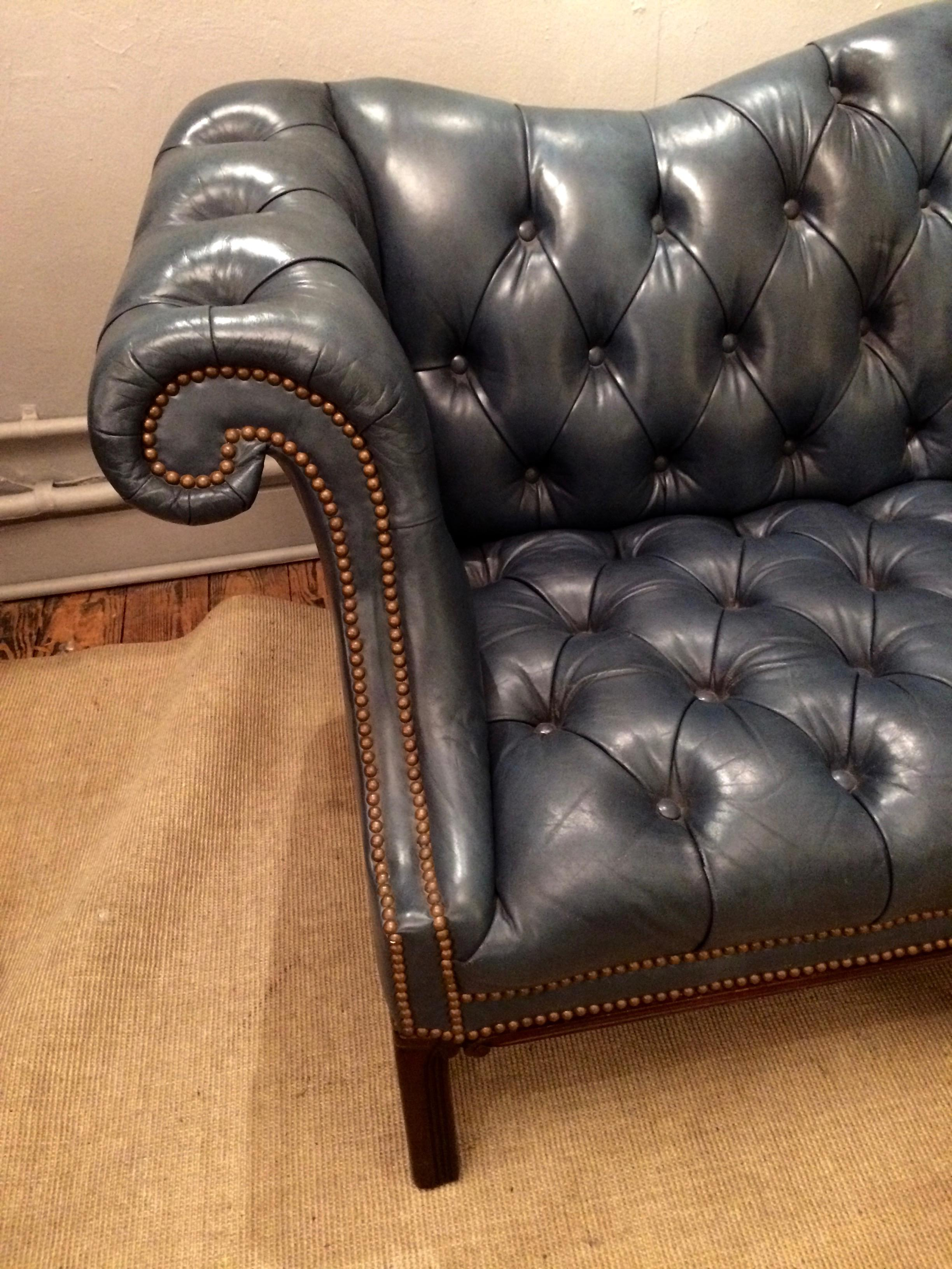 Blue Gray Tufted Leather Chesterfield Sofa Chairish
