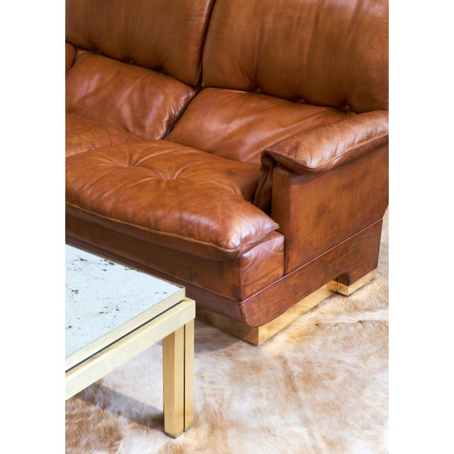 Modernist French Leather and Brass Sofa - Image 6 of 11