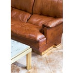 Image of Modernist French Leather and Brass Sofa