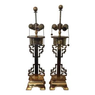 Hollywood Regency Asian Brass Lamps Chin Hua - A Pair