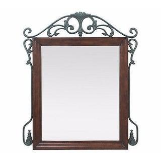 Art Nouveau Mahogany and Wrought Iron Mirror