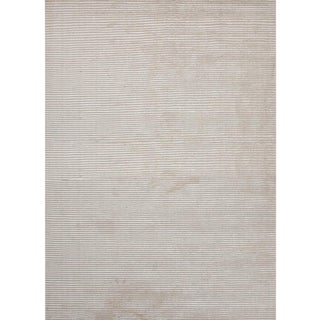 Contemporary Ribbed Ivory Wool Rug - 8′ × 10′