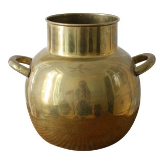 Large Brass Pot / Vase with Handles