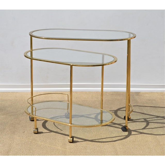 Brass & Glass Bar Cart - Image 3 of 9