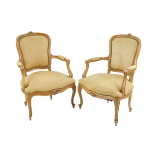 Ultrasuede French Armchairs - A Pair