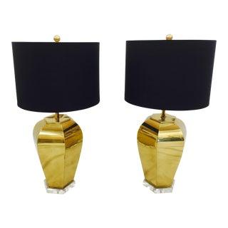Vintage Brass & Lucite Base Lamps