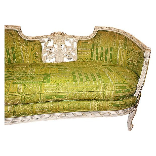 19th Century Green French Carved Loveseat - Image 2 of 8