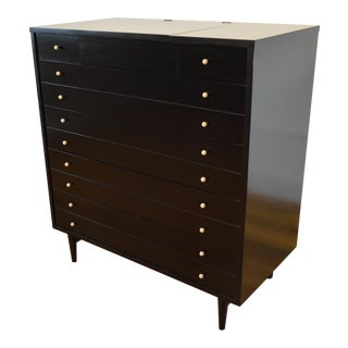American of Martinsville Ebonized Chest of Drawers With Mirror