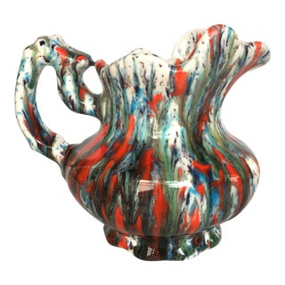 Colorful Signed Glazed Pitcher