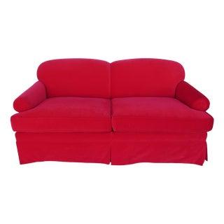 Custom Red Velvet Sofa