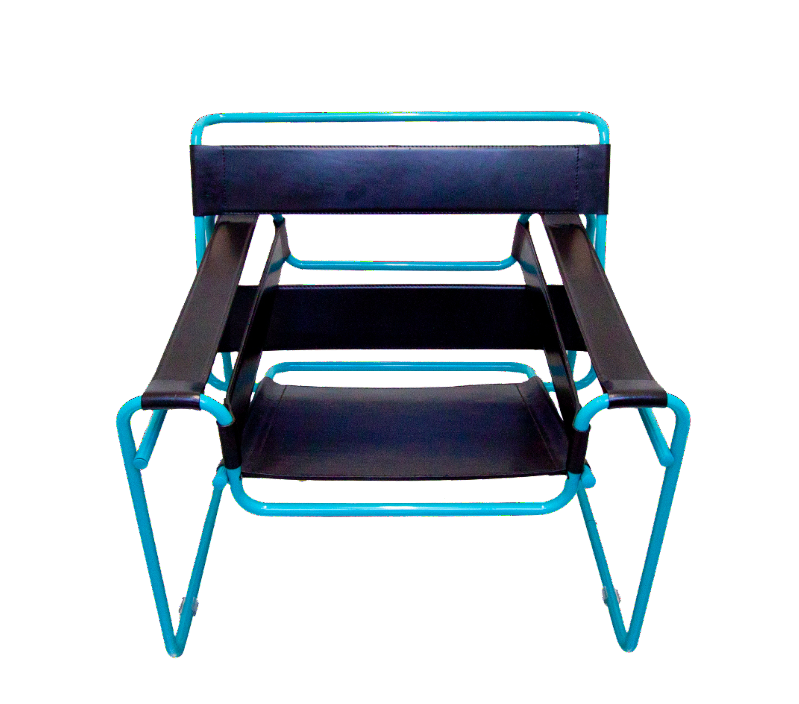 "Teal Wassily Style ""The Bauhauser"" Lounge Chair"