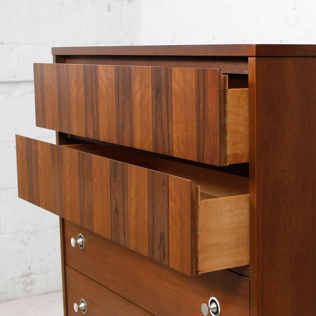 "Walnut & Rosewood Tall Chest W/ ""Radio Knob"" Pulls - Image 4 of 9"
