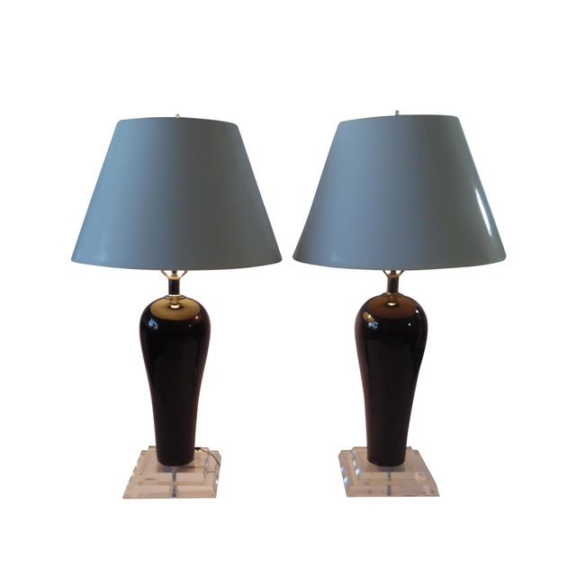 Mid-Century Lucite & Ceramic Table Lamps - A Pair - Image 1 of 9