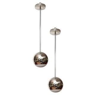 Pair of Perforated Chrome Globe Pendant Lights