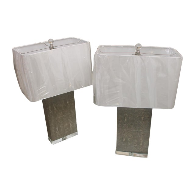 Shagreen Column Lamps - Pair - Image 1 of 7