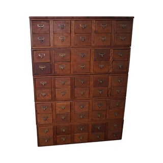 Antique Fifty-Drawer Oak Library File Cabinet