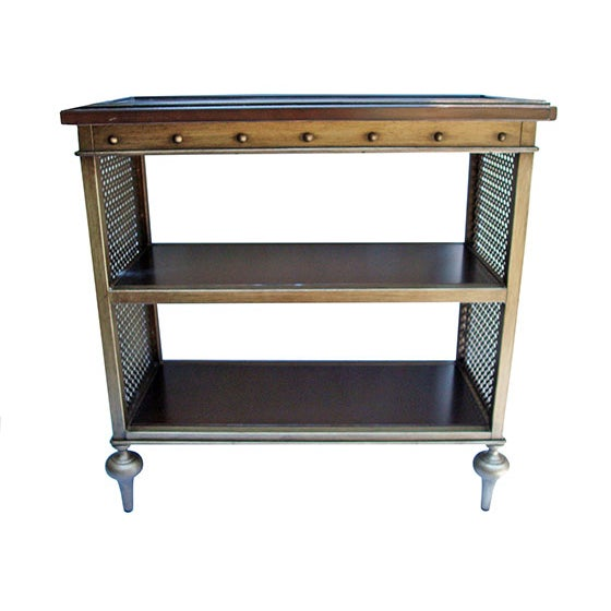 Image of Cherry Wood & Metal Mesh Side Table