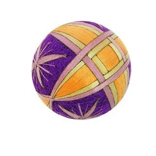 Temari Ball - Interlocking Squares & Purple Stars