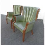 Image of Channel Back Green Vinyl Arm Chairs - Pair