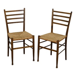 Italian Mid Century Modern Pair of Rush Seat Ladder Back Side Chairs