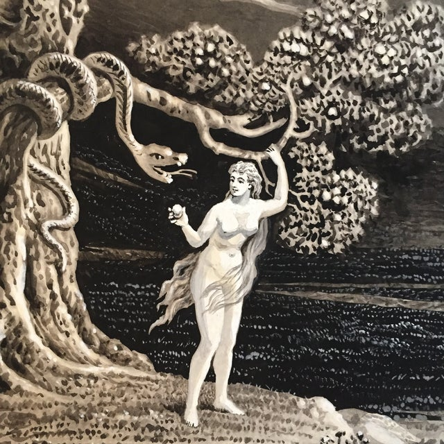 Image of Watercolor Illustration of Eve, Garden of Eden