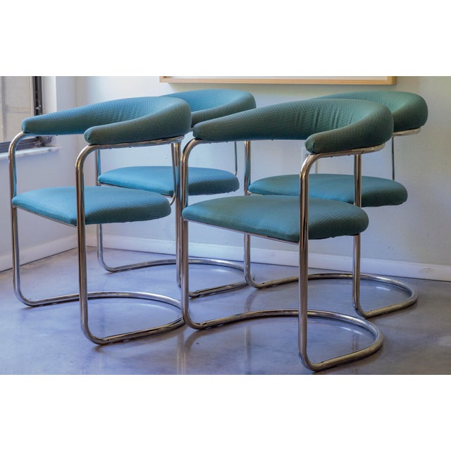 Thonet Tubular Chrome Teal Dining Chairs- Set of 4 - Image 2 of 9