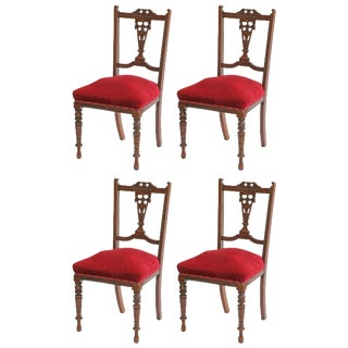 Antique Mahogany Spring-Seat Chairs - Set of 4