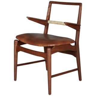 Danish Teak Cane and Leather Armchair by E. Knudsen