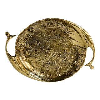Large Solid Brass Peacock Tray