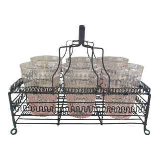 Blush Glasses & Wire French Caddy Set
