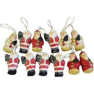 Designer Tenna Flanner Christmas Tree Santa Ornaments - Set of 12