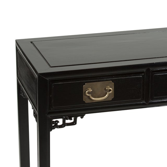 Image of 1960s Black Lacquered Chinese Fretwork Desk