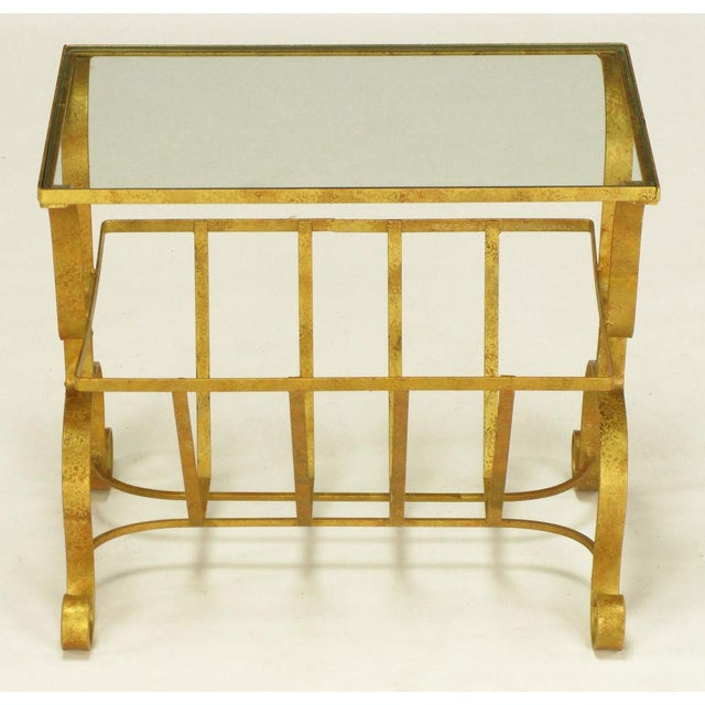 Gilt Iron & Glass Side Table With Magazine Caddy. - Image 5 of 6