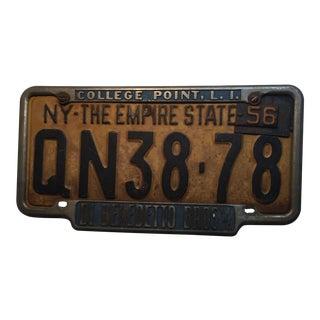 Vintage 1956 New York State License Plate