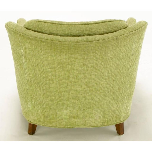 Pair of Pistachio Green Chenille Button-Tufted Low Barrel Back Wing Chairs - Image 7 of 9