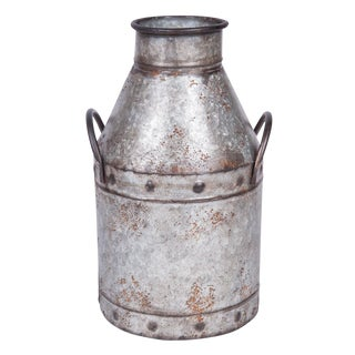 Vintage Galvanized Metal Decorative Milk Jug