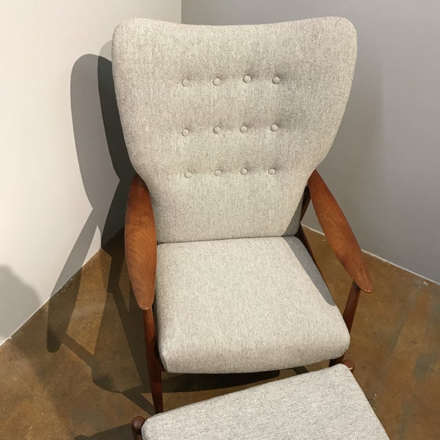 Danish Modern Wingback Recliner & Ottoman - Image 5 of 6