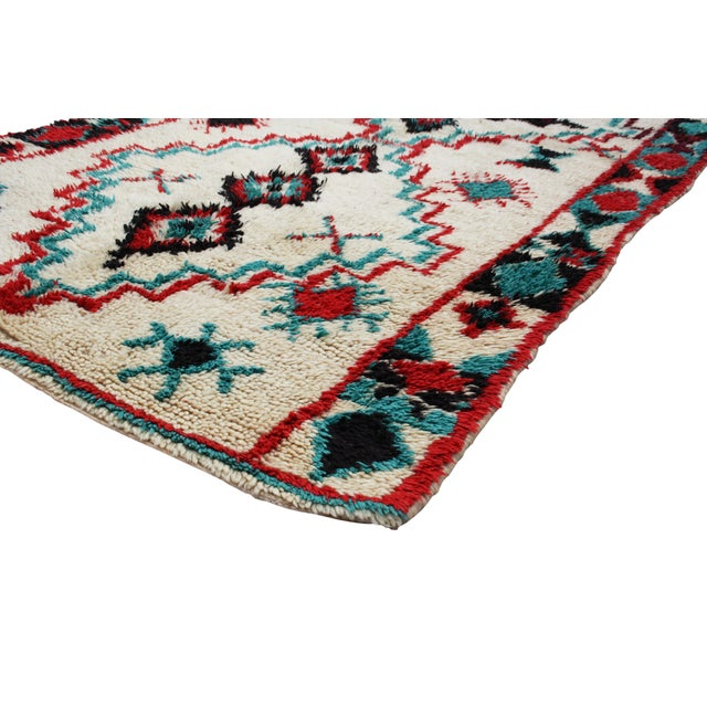 "Red & Turquoise Moroccan Rug - 8'6"" X 3'8"" - Image 2 of 5"