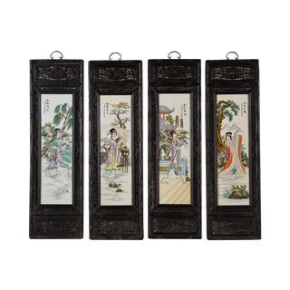 Antique Chinese Painted Porcelain Panels - Set of 4