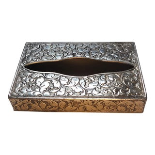 Vintage Etched Silver Travel Tissue Holder