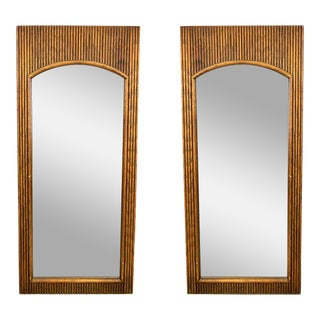 Pair of Mid-Century Walnut Reeded Mirrors