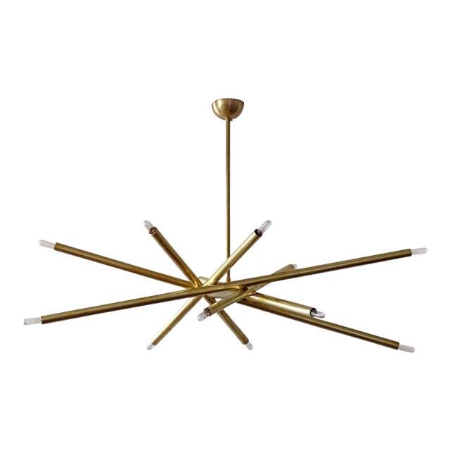 Raw Brass & Spiral Chandelier - Image 1 of 11