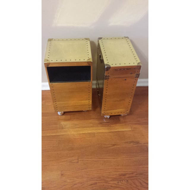 Image of Studded Brass Trunk Sidetables - A Pair