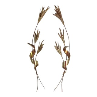 Vintage 70s Brass Wheat Grass Metal Hanging Wall Art - A Pair