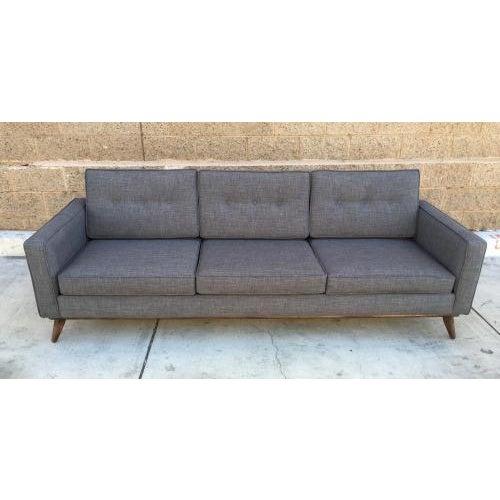 Image of Mid Century Moder Custom Tufted Gray Tweed Sofa