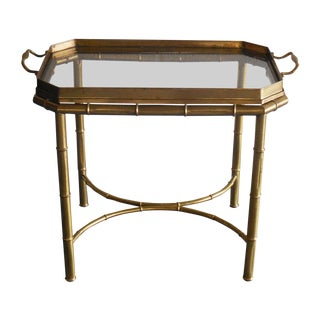Brass Faux Bamboo Tray Table by Mastercraft