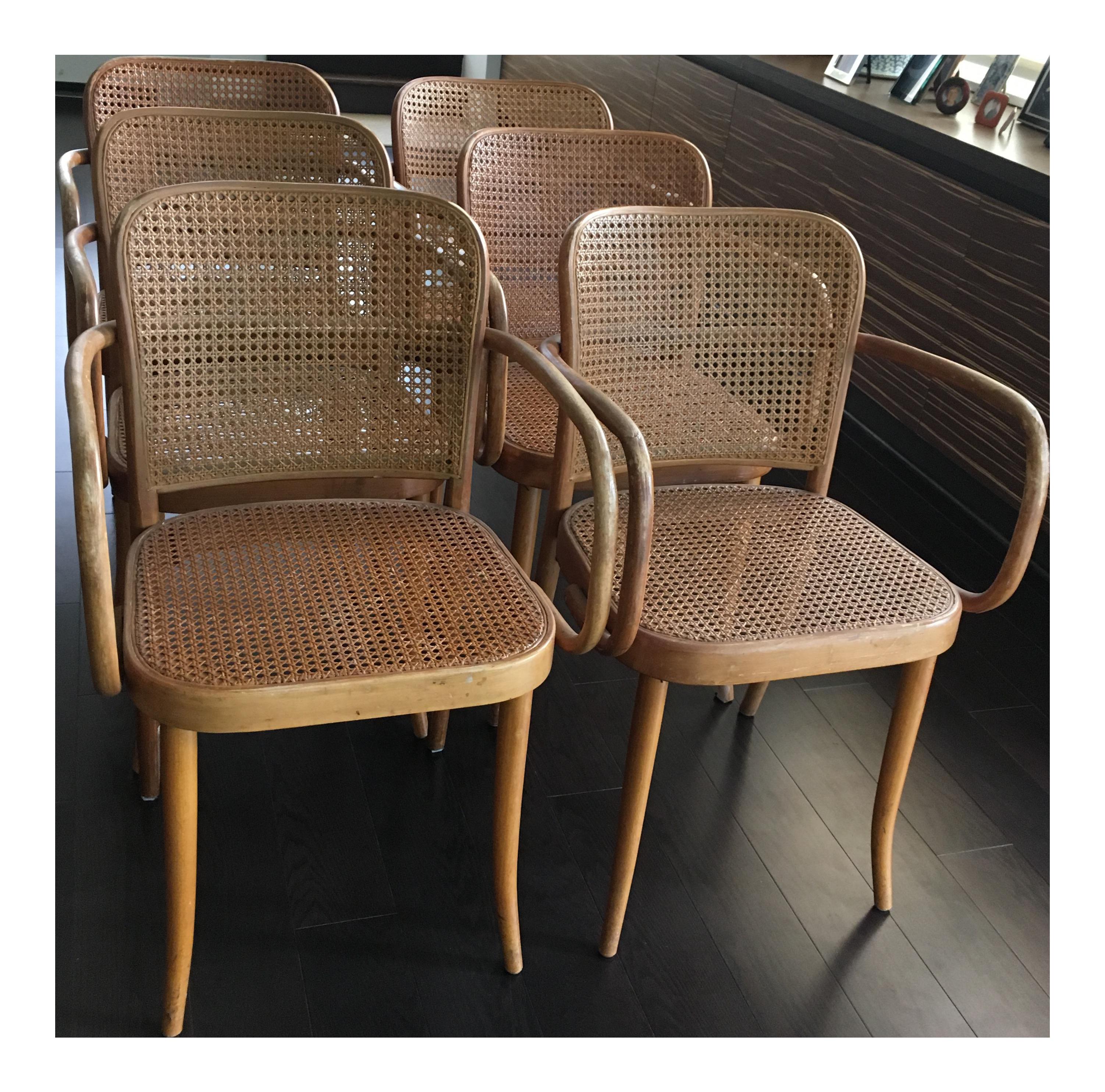 Josef Hoffmann Thonet No 811 Bentwood Cane Chairs   Set Of 6