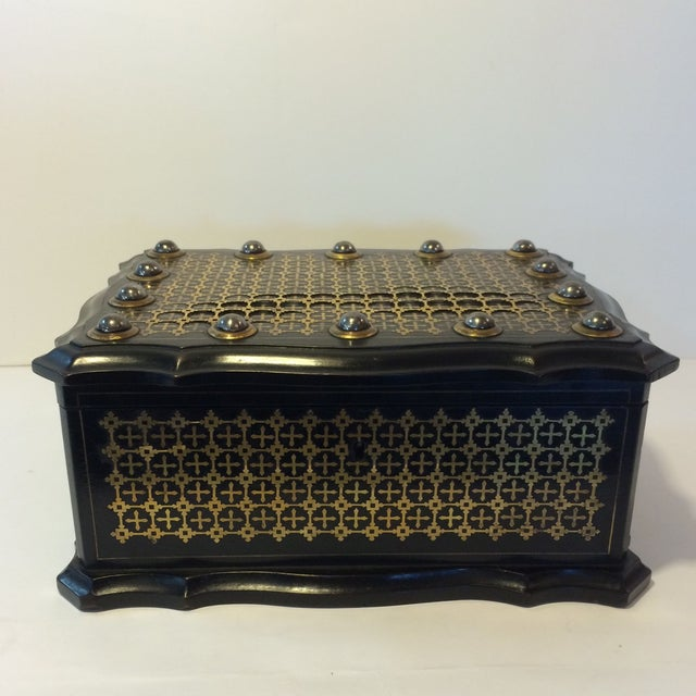 French Solid Ebony Wood Jewel Box - Image 2 of 7